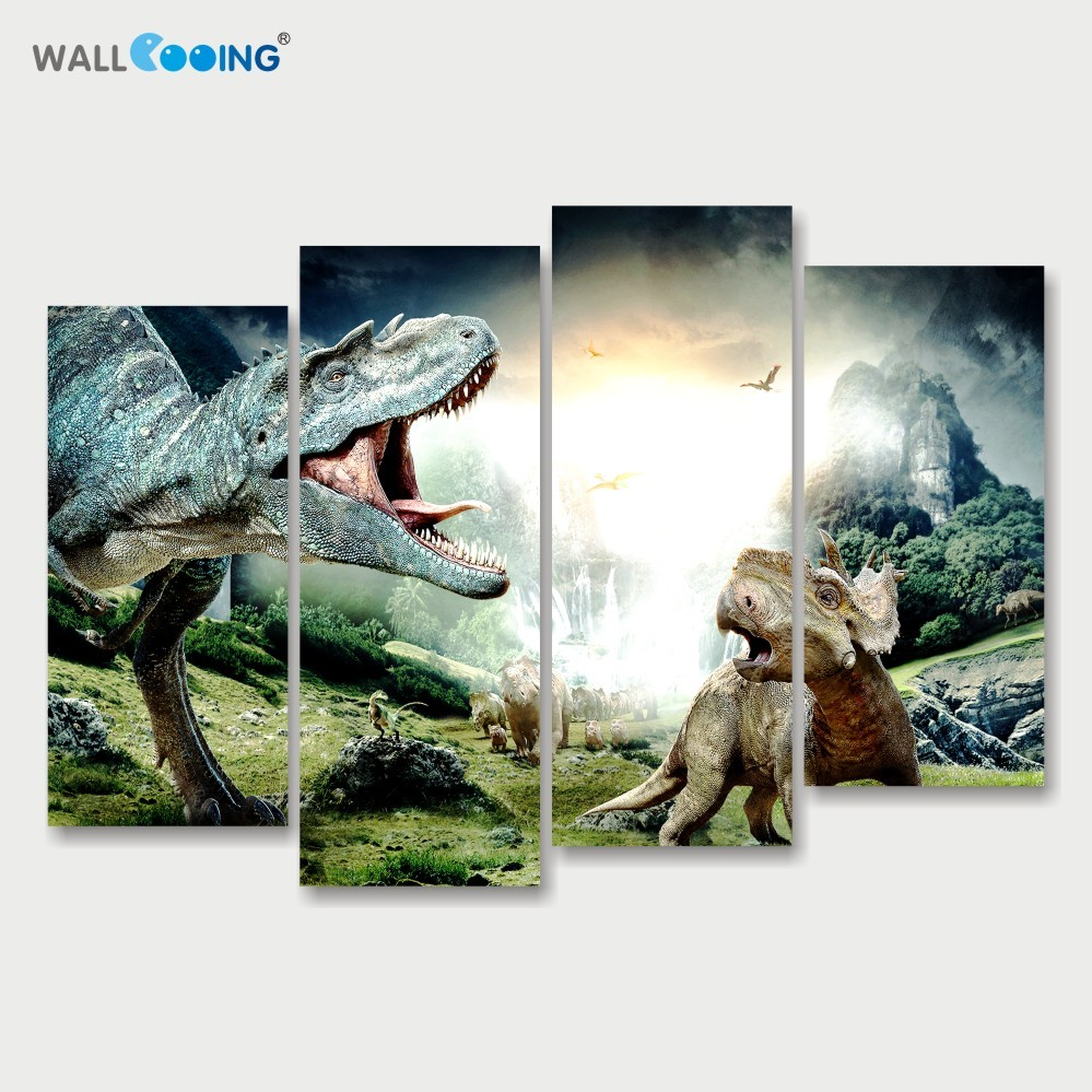 Us 17 52 27 off4 panels canvas art style painting jurassic park dinosaur modular wall pictures setting spray vertical type home decor wall art in