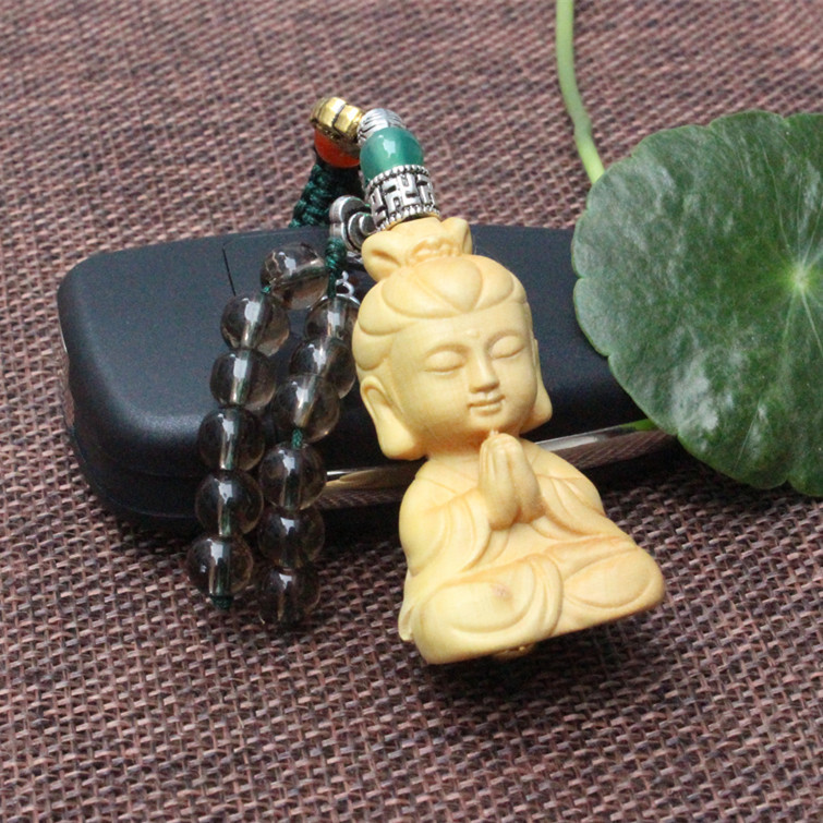 Hot sale boxwood 3D carving Buddha religious Avalokitesvara lucky pendant for bag charms for purse / cellphone / car small gift
