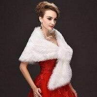 Wholesale One Size Wedding Wraps White Warm Faux Fur Stoles Winter Wedding Bolero Jacket Bridal Coat