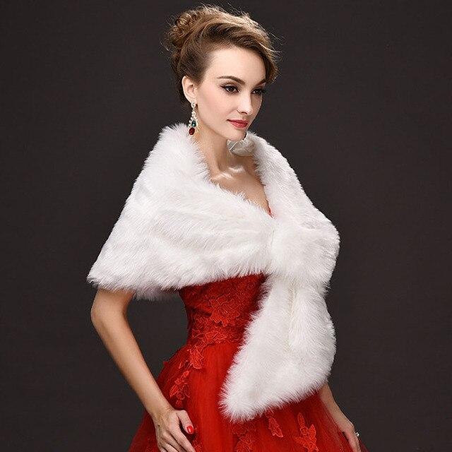 Whole One Size Wedding Wraps White Warm Faux Fur Stoles Winter Bolero Jacket Bridal Coat