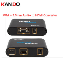 350 Stereo Audio in VGA in to HDMI Out Converter connecting PC to HDTV,VGA+3.5mm Audio to HDMI video Converter video adapter