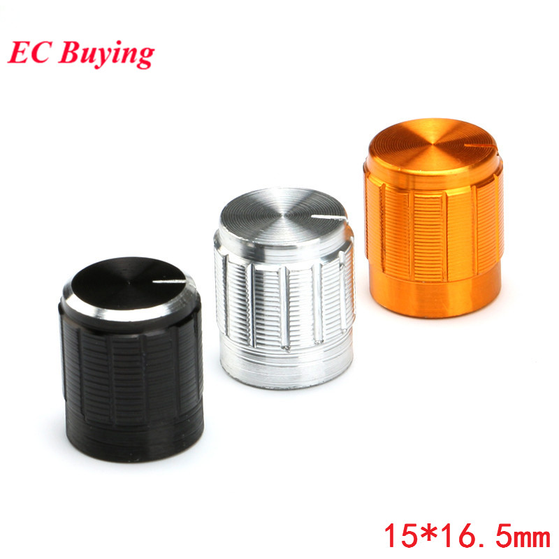 5pcs Potentiometer Knob Aluminum Knobs Cap Diameter 15MM 15x16.5mm Silver Color Colorful Caps Electronic Component