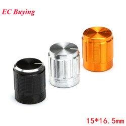 5 uds. De perilla de potenciómetro, perillas de aluminio, tapa de diámetro de 15MM, 15x16,5mm, Color plateado, gorras coloridas, componente electrónico