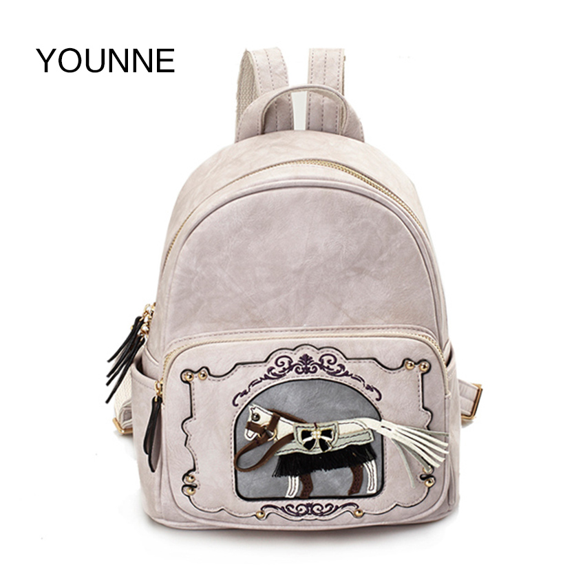 YOUNNE Women Leather Zipper Backpack Teenage Girls Horse Printing Backpacks School Bags Female High Quality Fashion Shoulder Bag