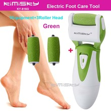 Green smooth strong electric pedicure tool Foot Care Cleaning Exfoliating Foot Care Tool +3pcs roller heads For scholls function