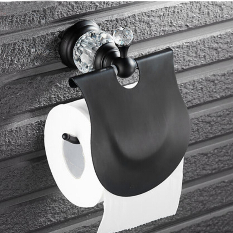 Crystal Style Oil Rubbed Bronze Paper Holder Wall Mounted Tissue Bar W/ Cover allen roth brinkley handsome oil rubbed bronze metal toothbrush holder