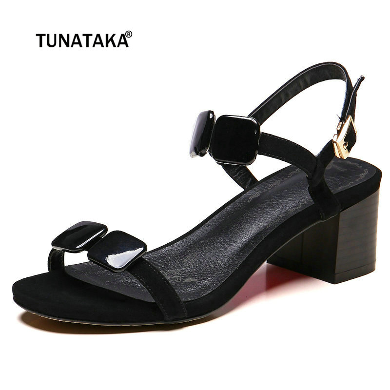 Women Leather Fashion Thick High Heel Sandals Buckle Strap Summer Casual Shoes White Black women high heel shoes women slingbacks sandals genuine leather solid color black white summer fashion casual shoes round toe