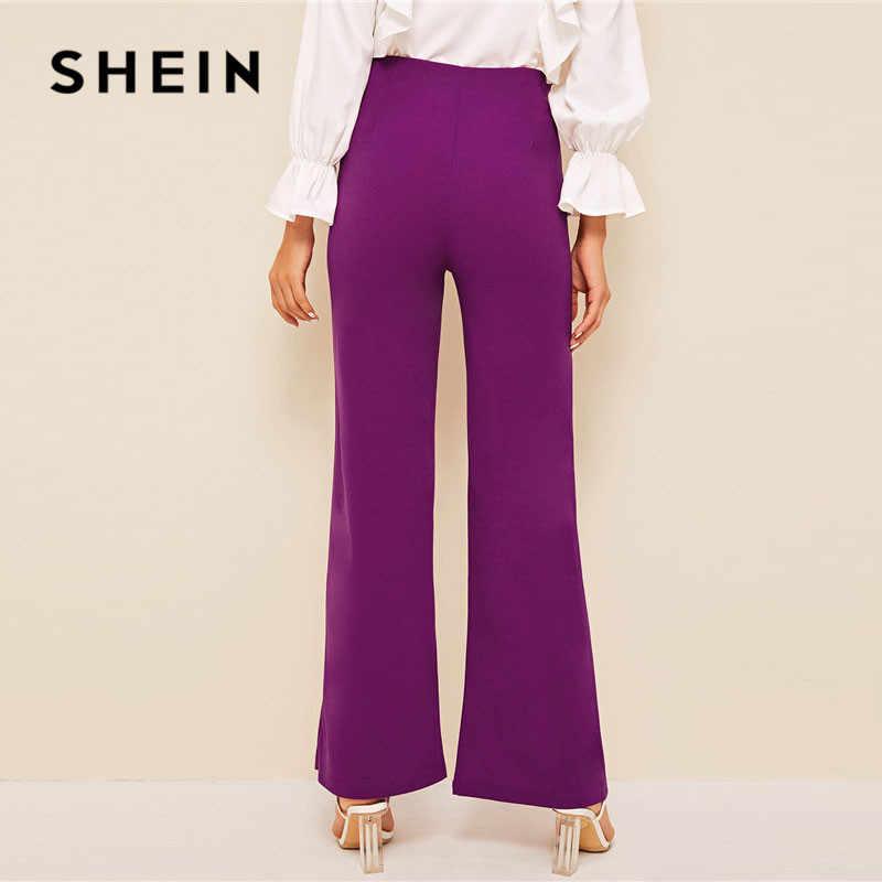 SHEIN фиолетовые брюки с двойным швом и пуговицами спереди, женские винтажные элегантные штаны с высокой талией, однотонные весенне-летние штаны на молнии