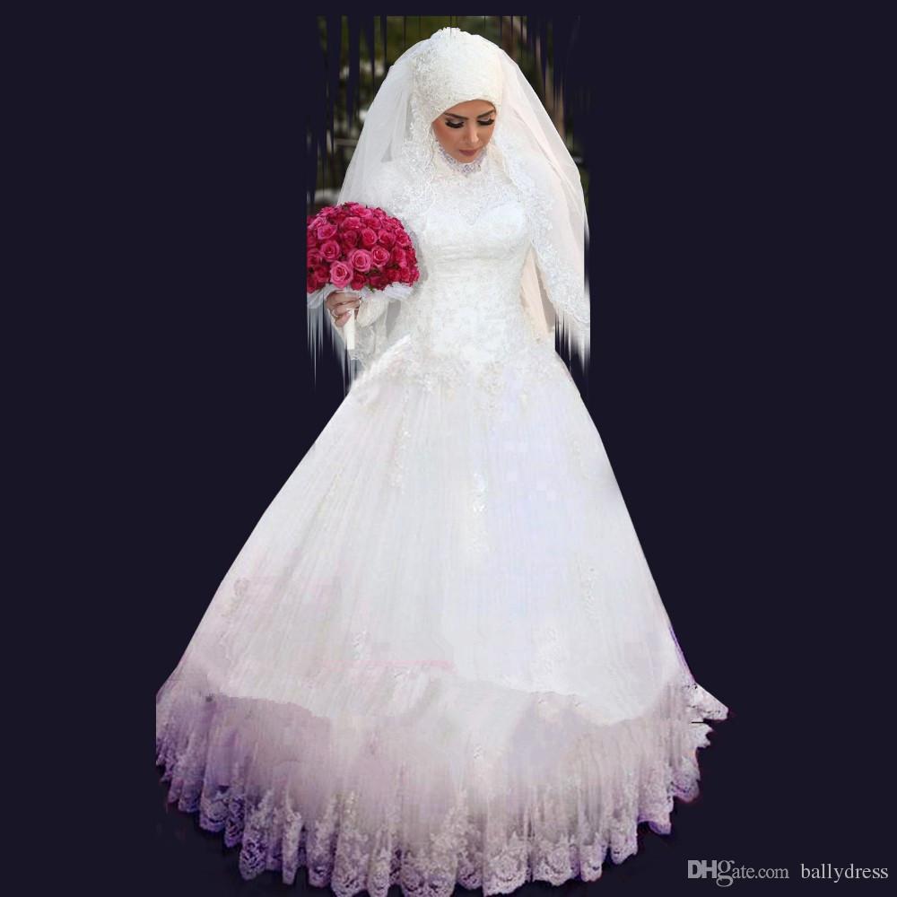 2016 Muslim Wedding Dresses Long Sleeves Beaded Crystal Ball Gown ...