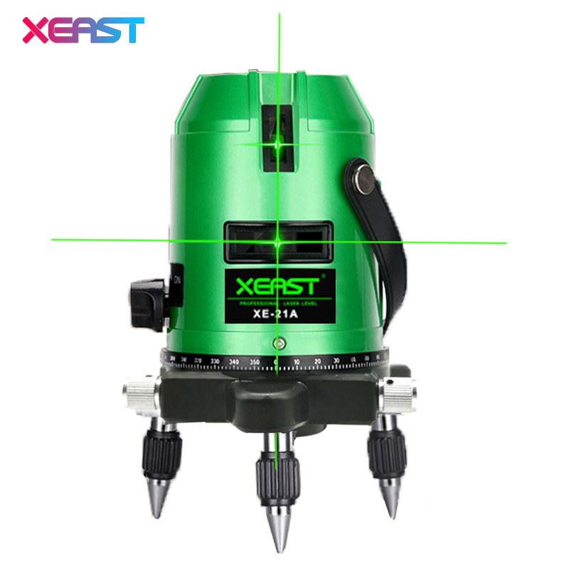 XEAST New XE-21A Green Laser Level 5 Lines 6 Points 4V 1H 360 Rotary Self Leveling Outdoor Tools Tilt Function xeast xe 50r new arrival 5 lines 6 points laser level 360 rotary cross lazer line leveling with tilt function