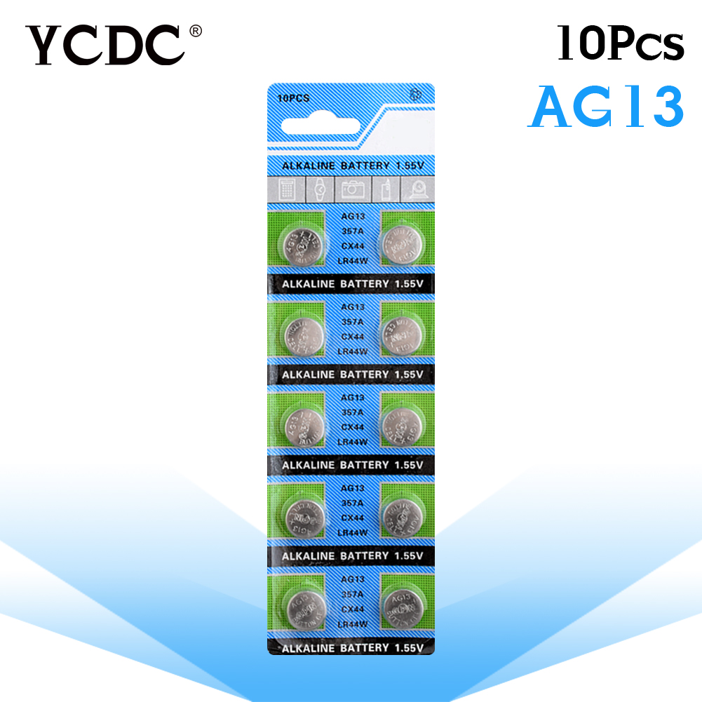 YCDC bateria sr44 10Pcs/1card AG13 Button Cell Batteries Wholesale SR1154 SR44 LR44 357 1.55V A76 H Size 11.6*5mm pilas