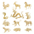 12 Chinese zodiac signs 3d three-dimensional wooden animal jigsaw puzzle toys for children diy handmade wooden jigsaw 3D puzzles