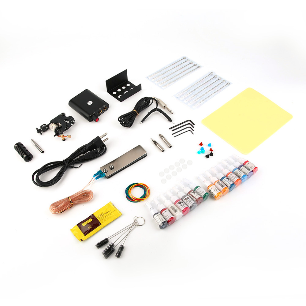 1Set Complete Equipment Tattoo Machine Gun Kit 14Color Inks Power Supply Cord Set Body Beauty Tattoo Makeup DIY Tool Top Quality p80 panasonic super high cost complete air cutter torches torch head body straigh machine arc starting 12foot