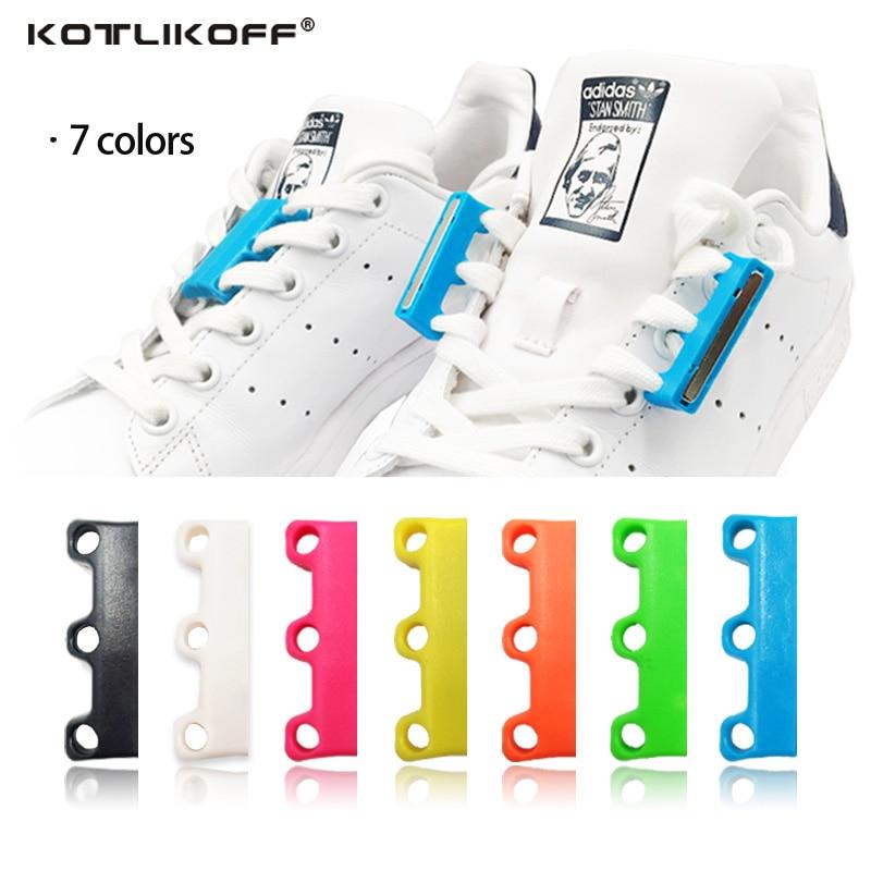KOTLIKOFF 1 paia 6 Colore Lacci Delle Scarpe Magnetico Chiusure Lacet Chaussure Shoe Laces Lacci Delle Scarpe Fibbia Pigro di No a Tie Scarpe pigro lacci