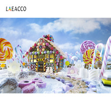 Laeacco Wonderful Candy Land House Lollipop Baby Photography Backdrops Vinyl Customs Photographic Backgrounds For Photo Studio