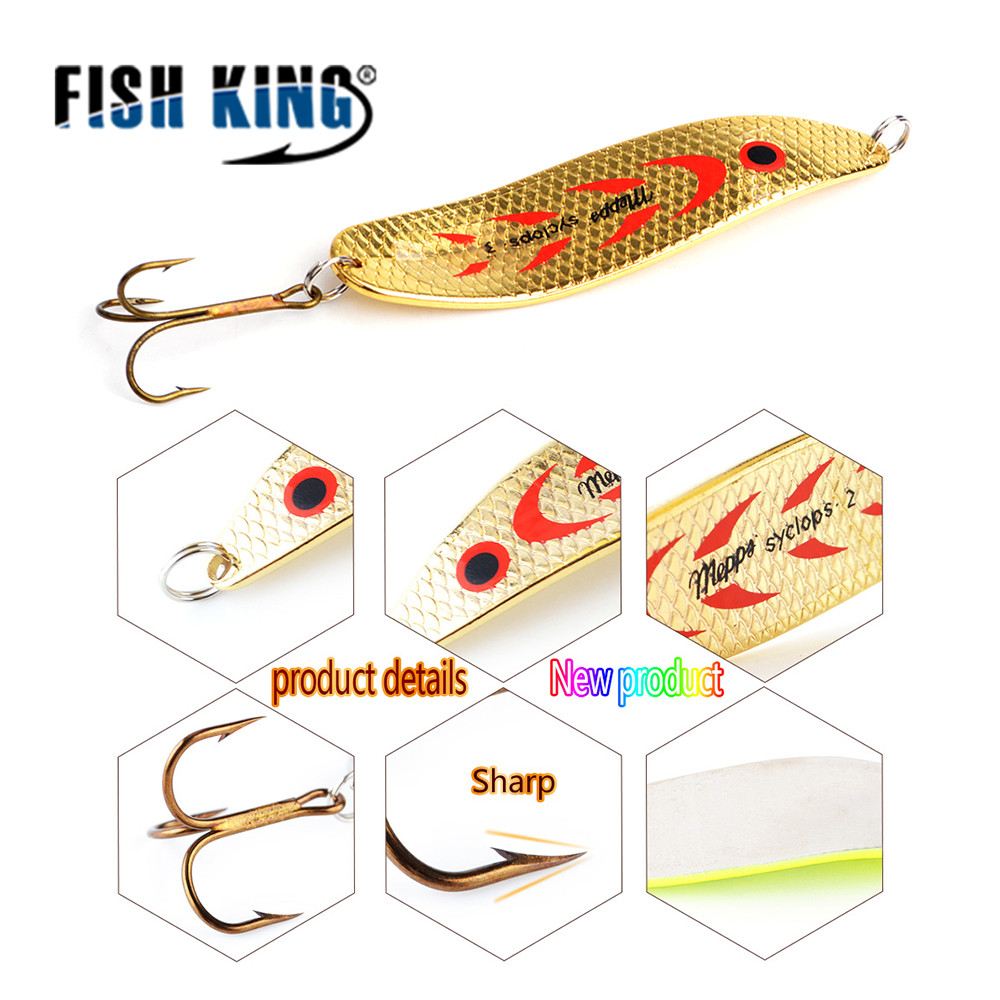 FISH KING 1PC-8PC/Bags Mepps Spoon 8 Colors Weight: 20g/30g Hook : 2#/3# Artificial Bait 10.5cm/12.0cm Fishing Lure For Fish