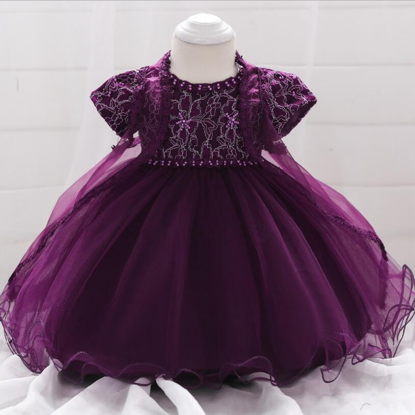 Vintage Baby Girl Dress Flowers Christening Gown 2018 -2232