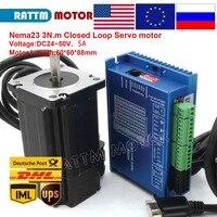 Nema23 3N.m Closed Loop Easy Servo motor 5A 88mm 3Nm(30Kg.cm) + 2HSS60 50VAC 2 Phase Hybrid Driver 6A CNC Controller Kit