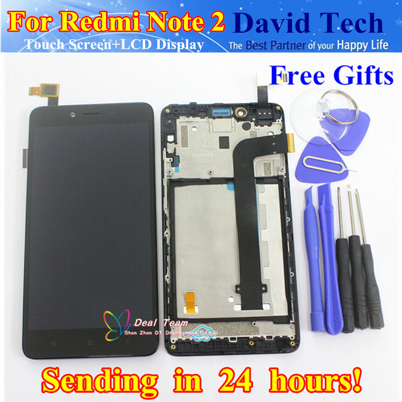 Prix pour Lcd de haute qualité d'affichage + écran tactile digitizer assemblée pour xiaomi redmi note 2 hongmi note2 téléphone portable avec cadre livraison gratuite