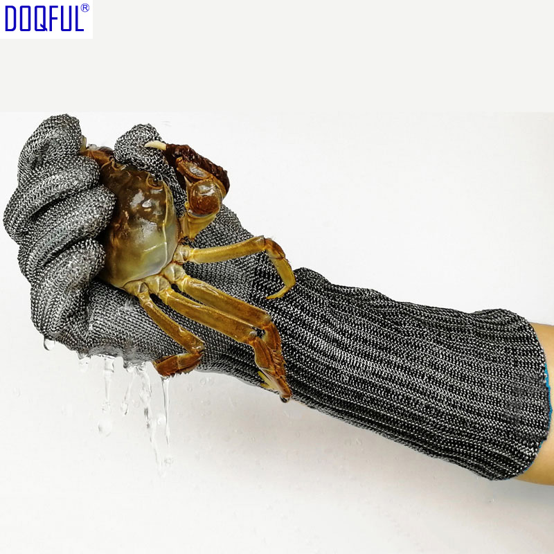 Long Anti-cut Glove 316L Stainless Steel Wire Knife Resistant Hand Arm Guard Protective Safety Catch Crabs Fish Seafood Cut Meat