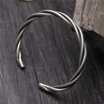 Retro Thai Silver Chiang Mai Handmade S925 Sterling Silver Male And Female Fashion Simple Open Ende Bangle