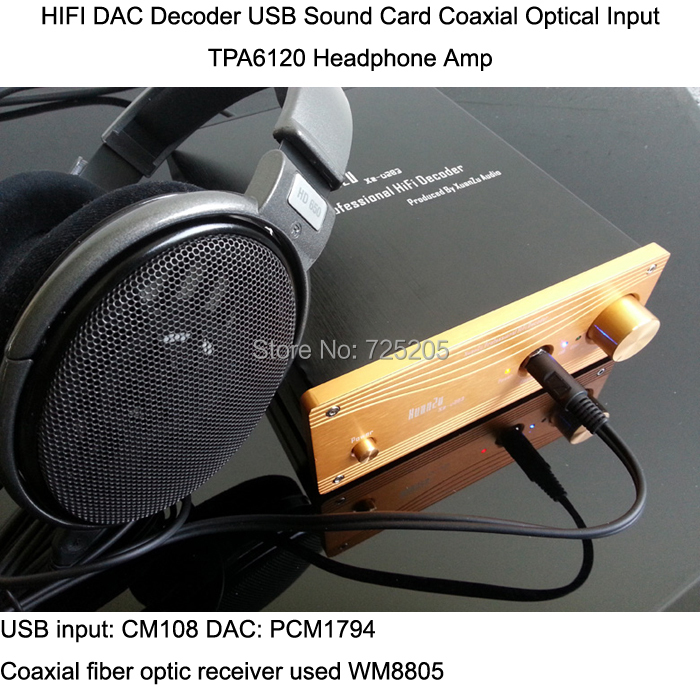 DAC Decoder Professional PCM1794 USB Sound Card Coaxial Optical Input TPA6120 Headphone Amplifier PC HIFI