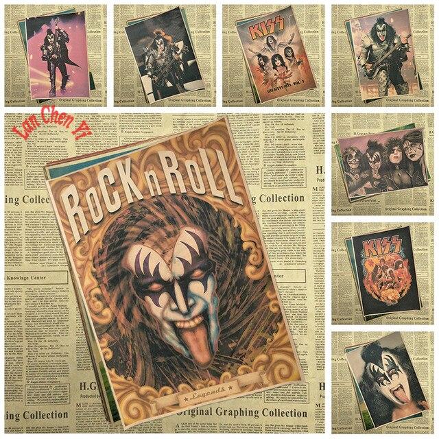 Nỗi nhớ Retro Ban Nhạc Rock Âm Nhạc Áp Phích NỤ HÔN Cafe Sáng Tạo hình nền Trang Trí Nội Thất