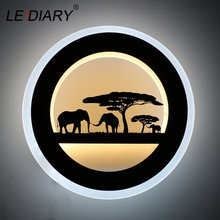 LEDIARY 14W Animal LED Round Wall Sconce 110-240V Modern Black Elephant Painting Wall Lights For Living Room Decoration Fixtures(China)