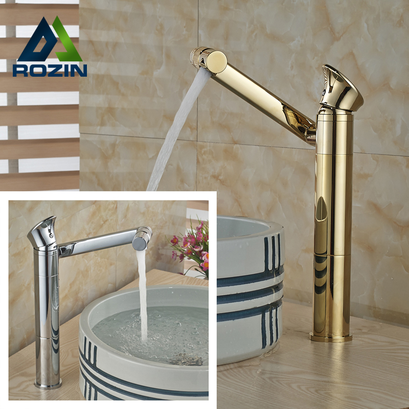 2016 Newly Brass Countertop Basin Sink Faucet Single Handle Swivel Rotation Spout Bathroom Mixer Tap in Chrome/golden chrome finished bathroom sink tub faucet single handle waterfall spout mixer tap solid brass