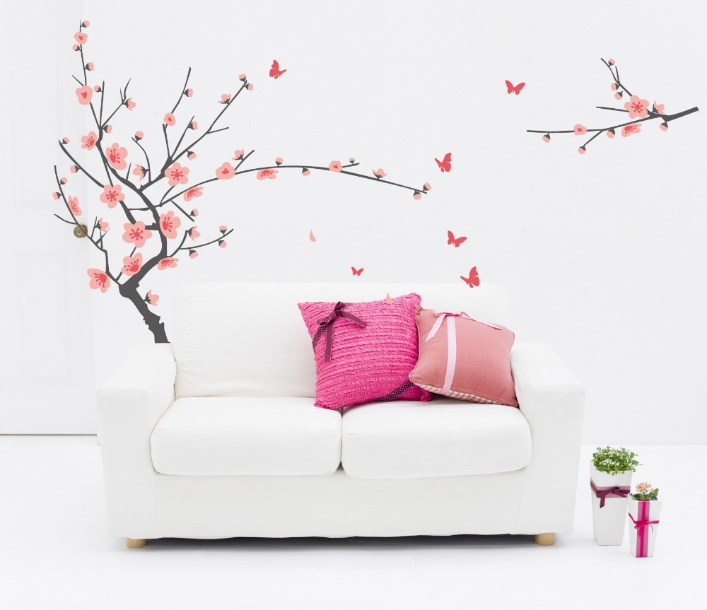 Buy 2017 new red cherry plum flower tree for Decoration adhesif mural