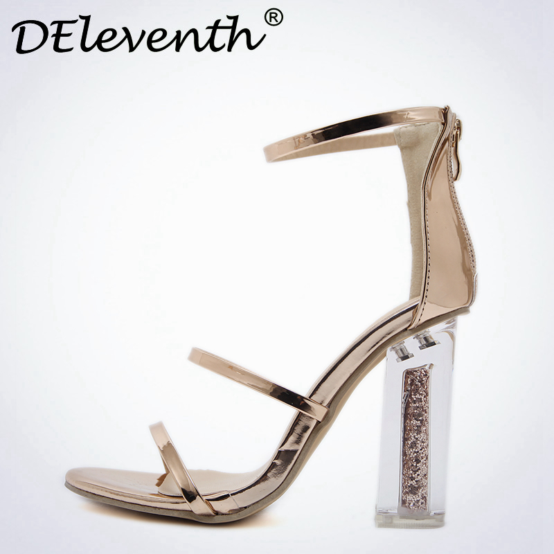 DEleventh Leisure Women sandals Summer 2017 Zipper Clear crystal heel Block Heels Shoes woman sandals Zapatos mujer Gold