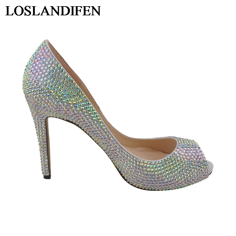 Wholesale Price Red Rhinestone Wedding Shoes Crystal Platforms High Heel Shoes Beautiful Bride Dress Shoes Big Size 42 NLK A0144 in Women 39 s Pumps from Shoes