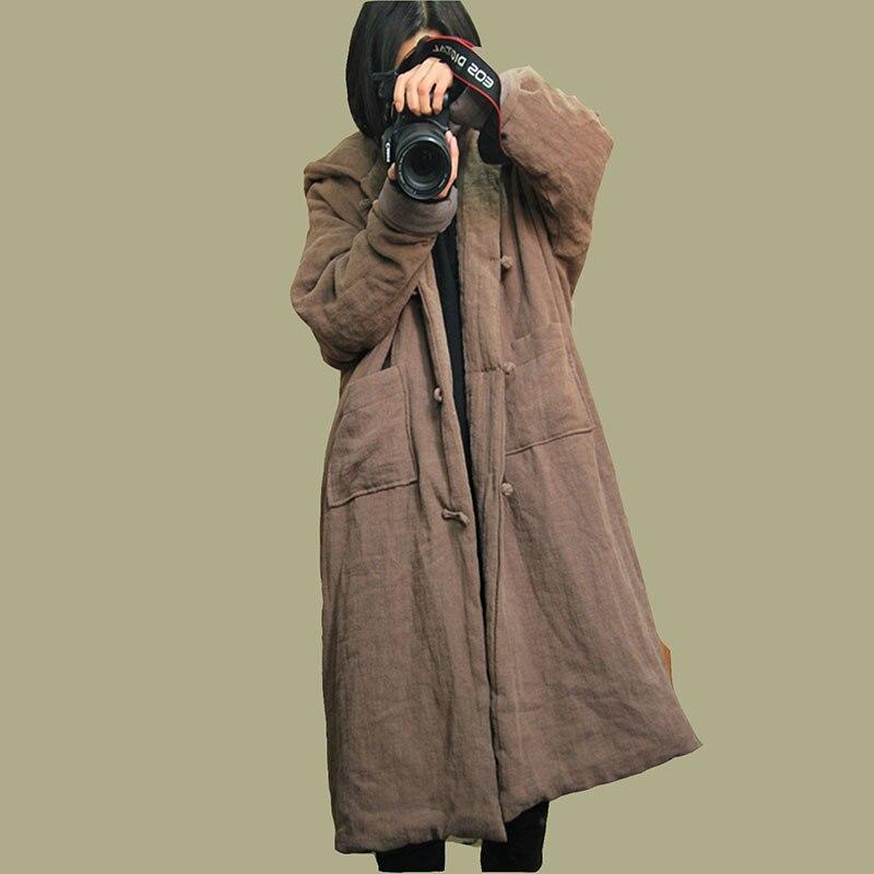 Femmes à la main bouton simple boutonnage à capuche Parkas manteau pardessus dames couleur unie Vintage hiver outwear Long manteau-in Parkas from Mode Femme et Accessoires    1