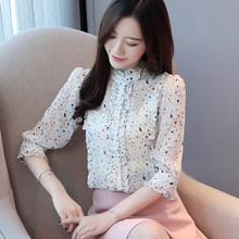 Women Fashion New Style V Collar Half Sleeve Summer Printed Loose Sweet Female Chiffon Shirts Blouses
