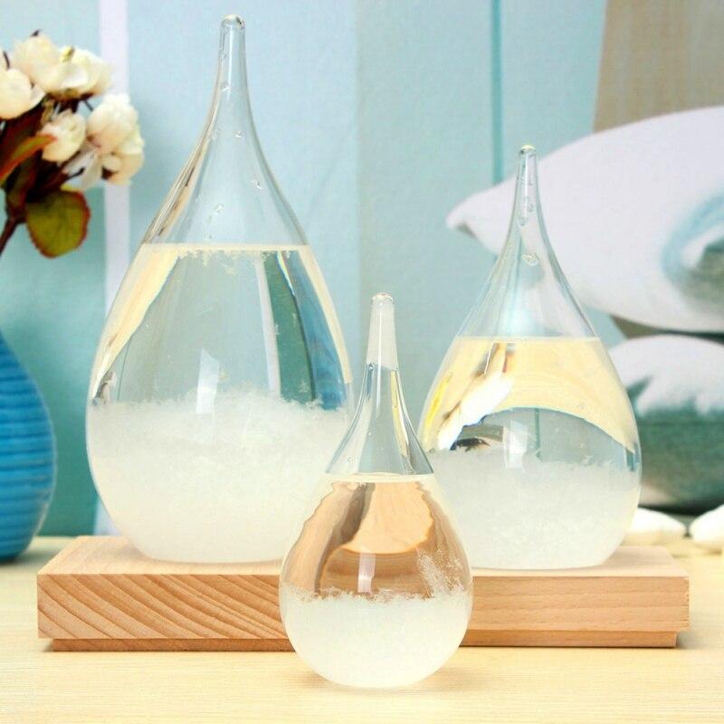 Transparent Kristall Wasser Tropfen Wetter Prognose Flasche Storm Glas Flüssigkeit Holz Basis Ornament Hause Hochzeit Decor Craft Kinder Geschenk