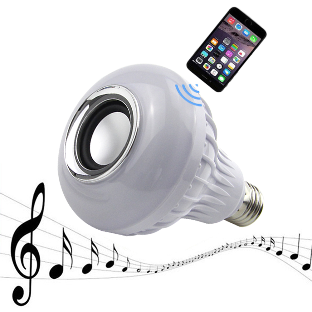 E27 Smart Bulb Light Dimmable 12W RGB Wireless Bluetooth Speaker Bulb Music Playing LED Light Lamp with 24 Keys Remote Control szyoumy e27 rgbw led light bulb bluetooth speaker 4 0 smart lighting lamp for home decoration lampada led music playing