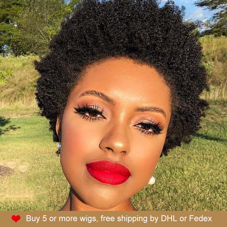 Rebecca Hair Cheap Wholesale Short Afro Kinky Curly Wig 100% Human Hair Natura Bob Straight Wigs For Black Women Free Shipping