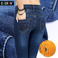 Hot Sale Women Blue Skinny Jeans  Winter Plus Velvet skinny Slim Warm Pencil denim Jeans Woman Femme Ladies Stretch Pants