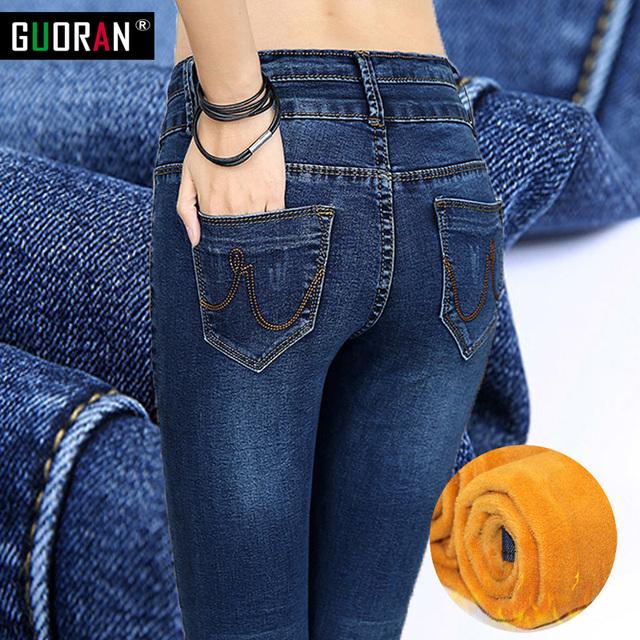 Venta caliente de Las Mujeres Azules Flacos de los pantalones Vaqueros de Invierno, Además de Terciopelo skinny Caliente Delgado Lápiz denim Jeans Mujer Femme Damas Pantalones de Estiramiento