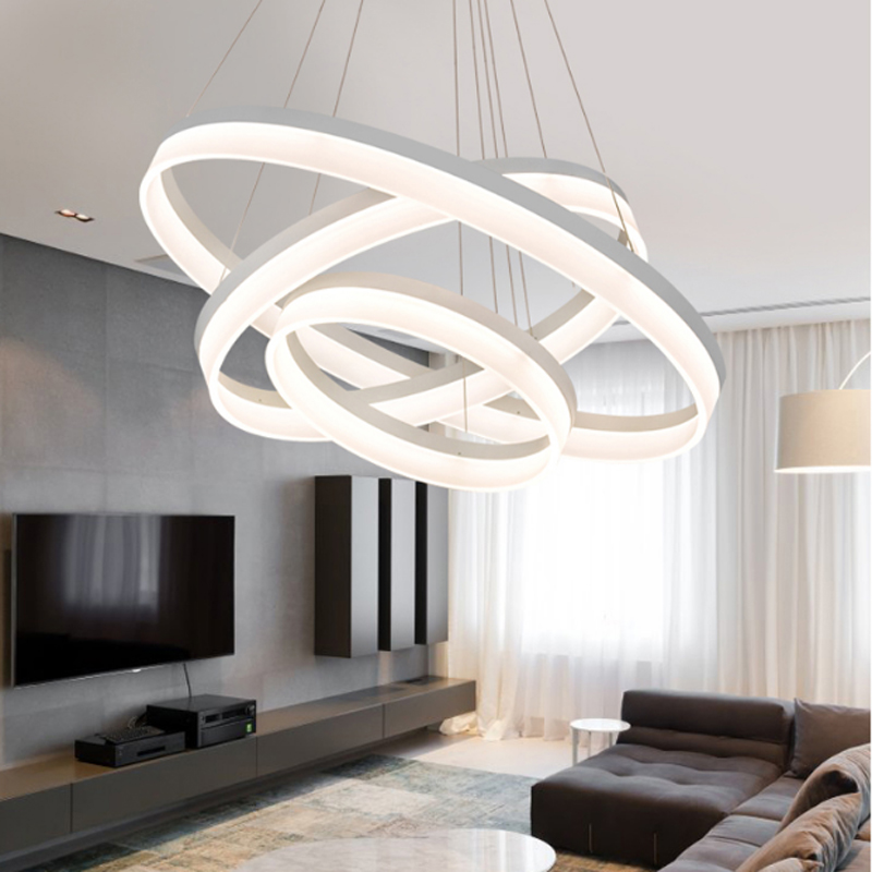 Modern round ring circular Acrylic LED chandelier For restaurant foyer bedroom dinning room hanging lamp 2016 led the new circular living room chandelier modern minimalist restaurant lamp bedroom stylish acrylic art light chandeliers