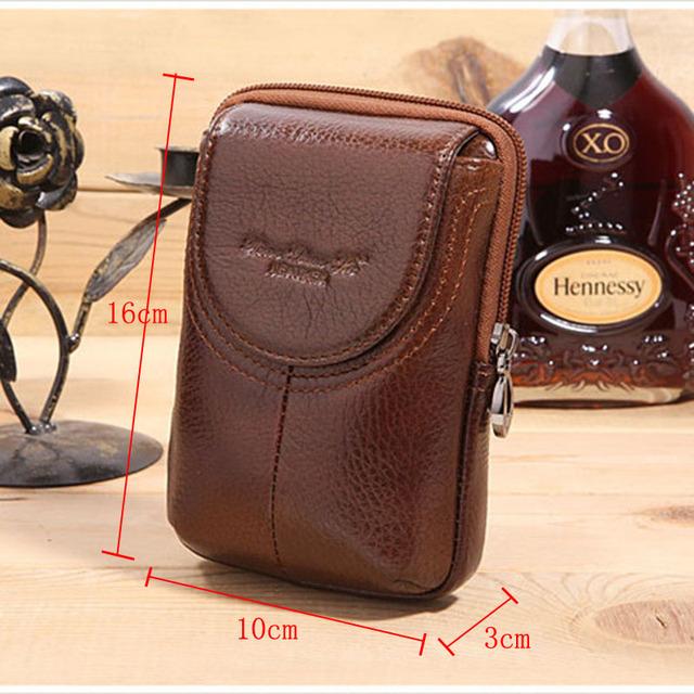 Cuero auténtico de la correa Hip Bum Fanny paquete de la cintura del zurriago verdadero celular / teléfono móvil / teléfono del cigarrillo del bolsillo de la caja dominante bolsa monedero