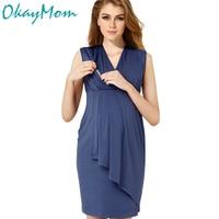 Euro America Sexy V Neck Maternity Nursing Dresses Pregnancy Nurse Wear Dress Cotton Pregnant Women Breastfeeding Clothes Summer