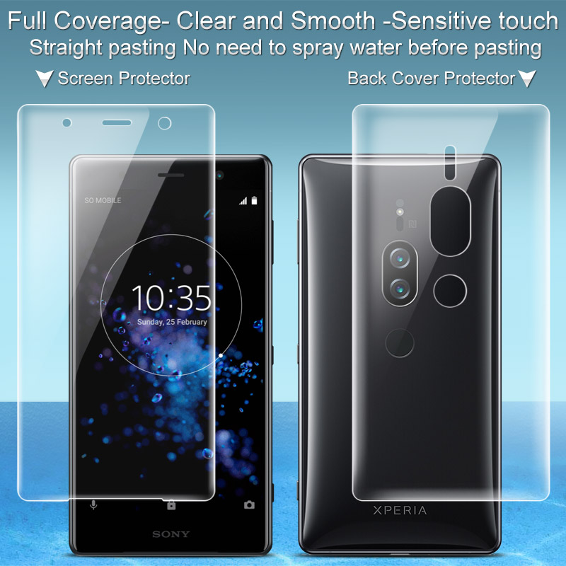 2PCS Full coverage for Sony Xperia XZ2 Premium Screen protector and Back cover protector Imak Hydrogel Film for Sony XZ2 Premium|Phone Screen Protectors| |  - title=