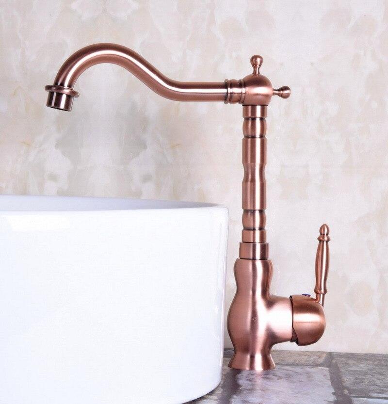 Vintage Red Copper Antique Brass Single Handle Swivel Spout Bathroom Basin Kitchen Sink Faucet Cold & Hot Mixer Tap Anf134
