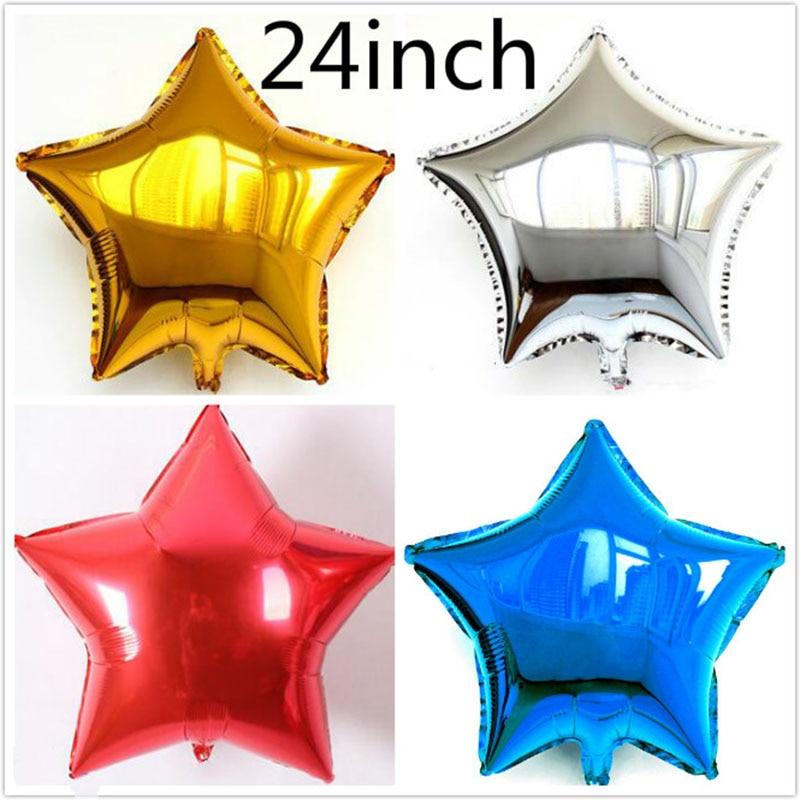 Најбоља цена 1 комад / лот 24 инчни балон за звезде / срце 60цм шарене звезде срце хелијум фолија балон за декорацију венчања