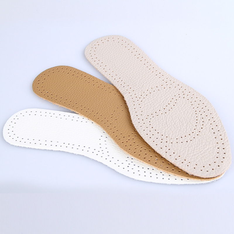 1 Pair Premium Genuine leather women men Comfortable Insoles Breathable Insoles Inserts flat Arch Pad 004