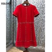 Dresses Vestidos De Festa 2019 Spring Summer Party Ladies Dress O Neck Studs Beading Short Sleeve Red Black Dress High Quality