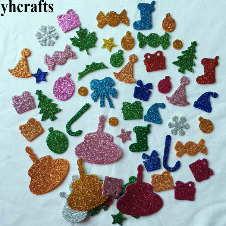 /lot.glitter Foam Christmas Stickers 10 Design Scrapbooking Kit Early Educational Toys Kindergarten Craft Toys Oem Special Buy 10bags Lovely 550pcs
