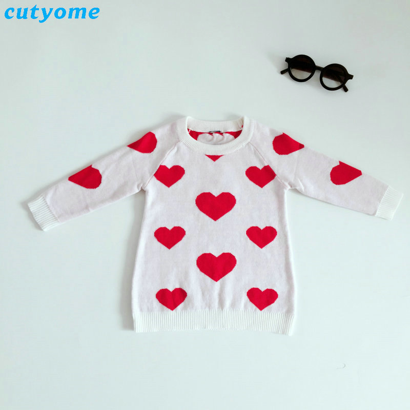 Baby Girls Sweater Heart Pattern Knitted Kids Christmas Cardigan Cotton Long Sleeve Clothes Children Pullover Jumpers For Boys