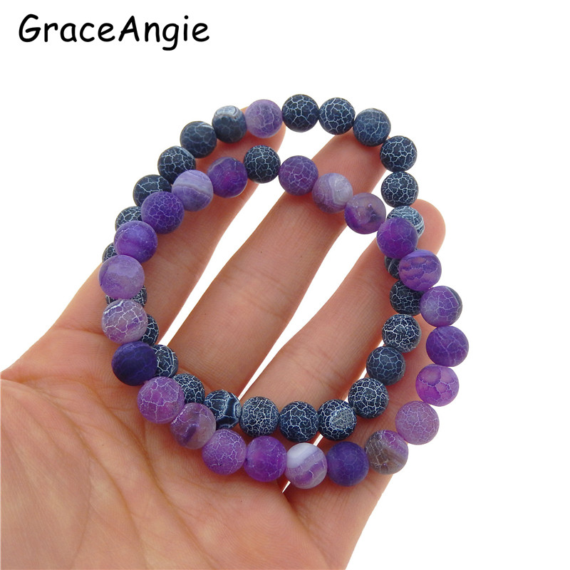 GraceAngie 2pcs Frosted Crackle Dragon Vein Beads